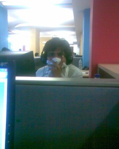 This is how Manoj Kumar will protect himself from getting Swine Flu (Clicked inside my office. The name of the employee is withheld to protect his identity... lol)